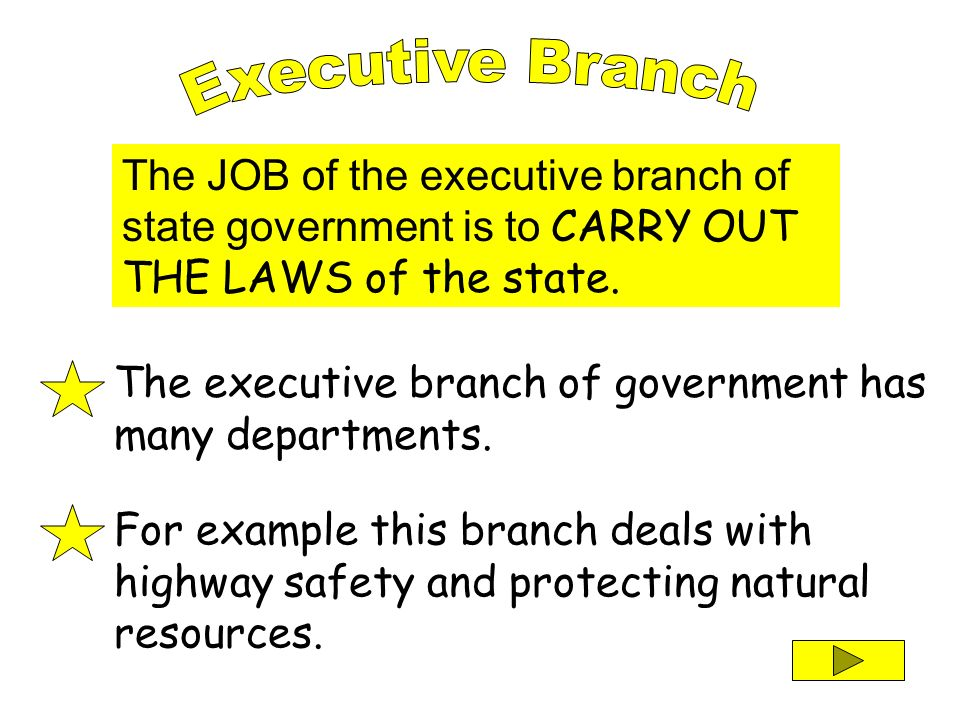 Executive Branch The JOB of the executive branch of state government is to CARRY OUT THE LAWS of the state.