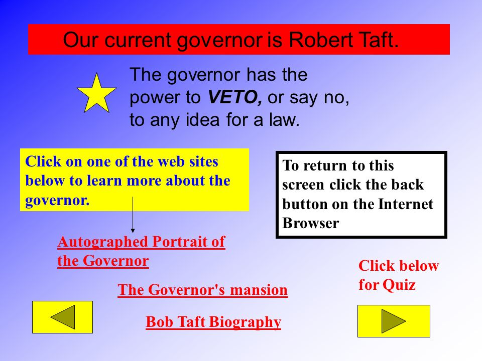 Our current governor is Robert Taft.