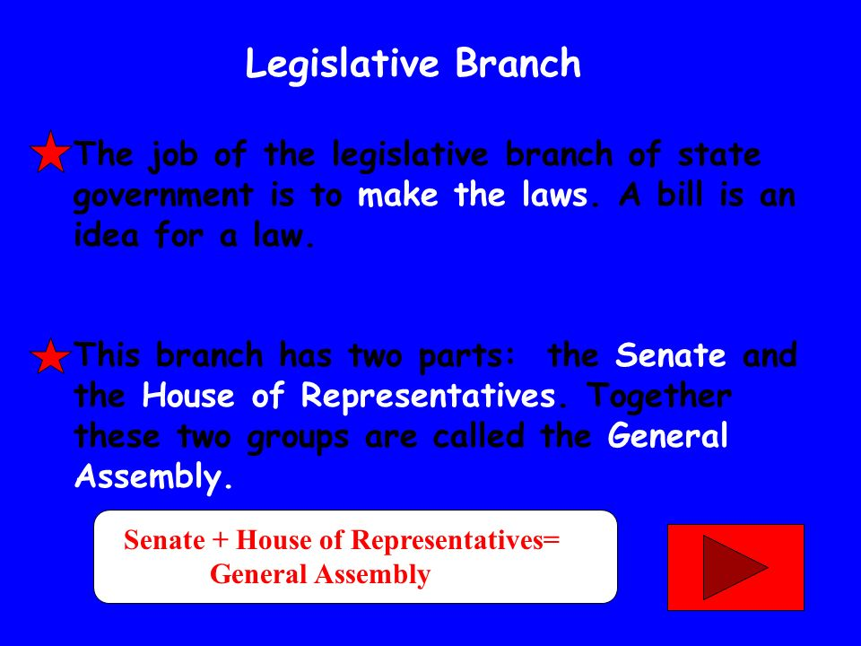 Legislative Branch The job of the legislative branch of state government is to make the laws. A bill is an idea for a law.