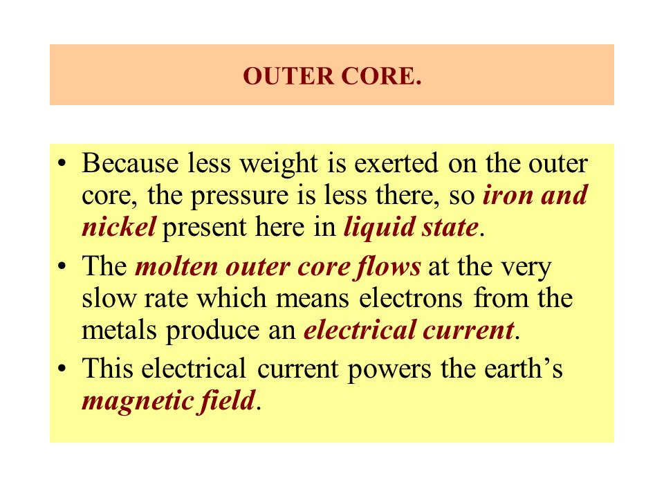 This electrical current powers the earth's magnetic field.