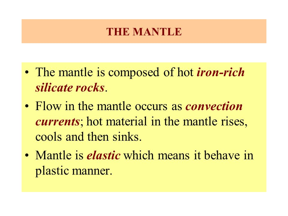 The mantle is composed of hot iron-rich silicate rocks.