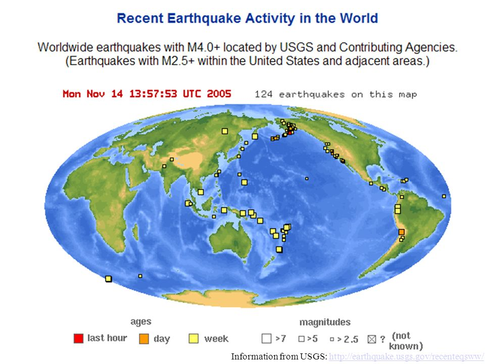 Information from USGS: http://earthquake.usgs.gov/recenteqsww/