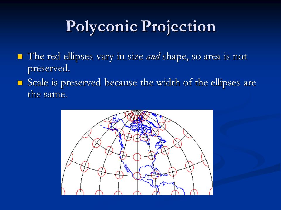 Polyconic Projection The red ellipses vary in size and shape, so area is not preserved.