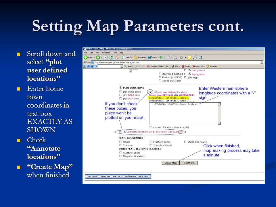 Setting Map Parameters cont.