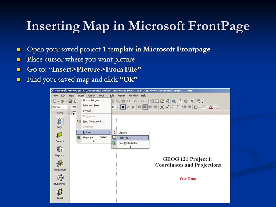 Inserting Map in Microsoft FrontPage