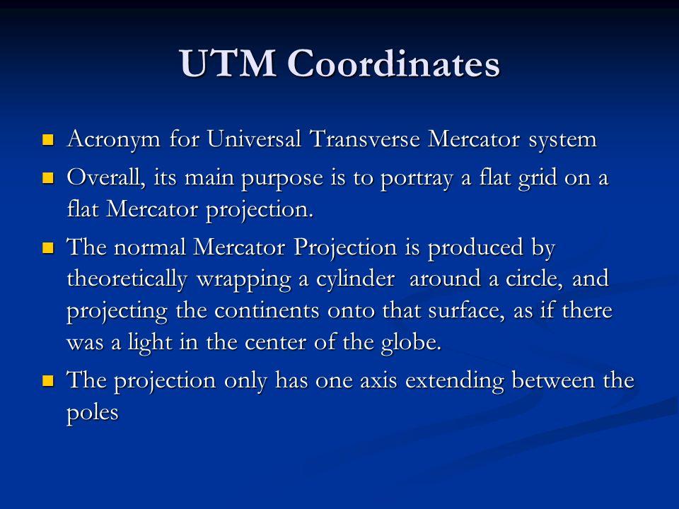 UTM Coordinates Acronym for Universal Transverse Mercator system