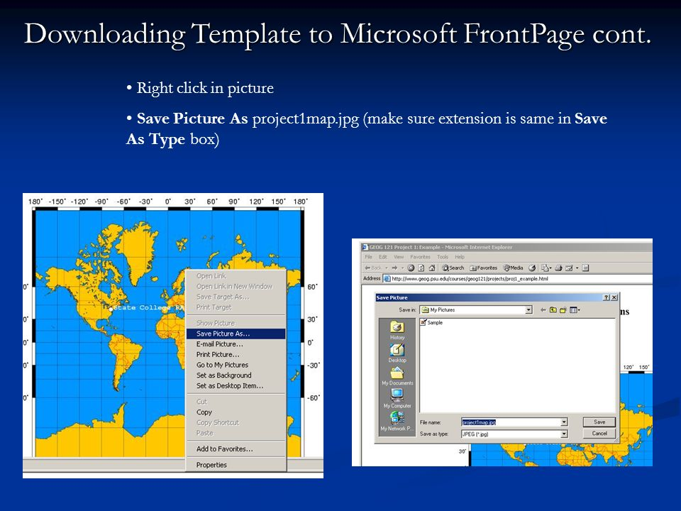 Downloading Template to Microsoft FrontPage cont.