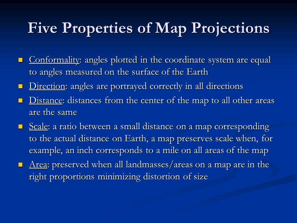 Five Properties of Map Projections