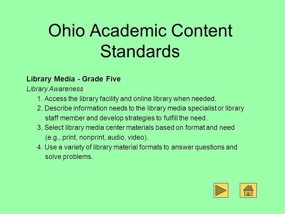 Ohio Academic Content Standards
