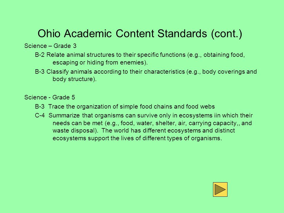 Ohio Academic Content Standards (cont.)
