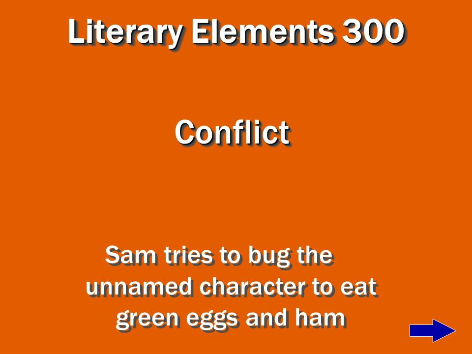 Sam tries to bug the unnamed character to eat green eggs and ham