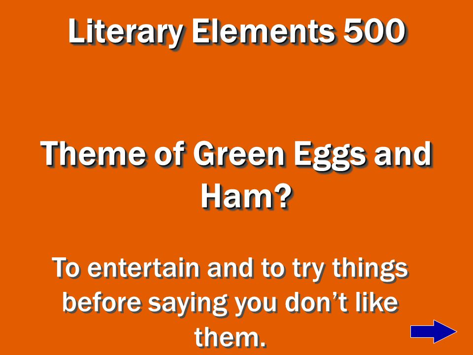 Theme of Green Eggs and Ham