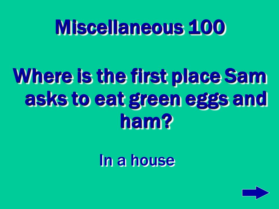 Where is the first place Sam asks to eat green eggs and ham