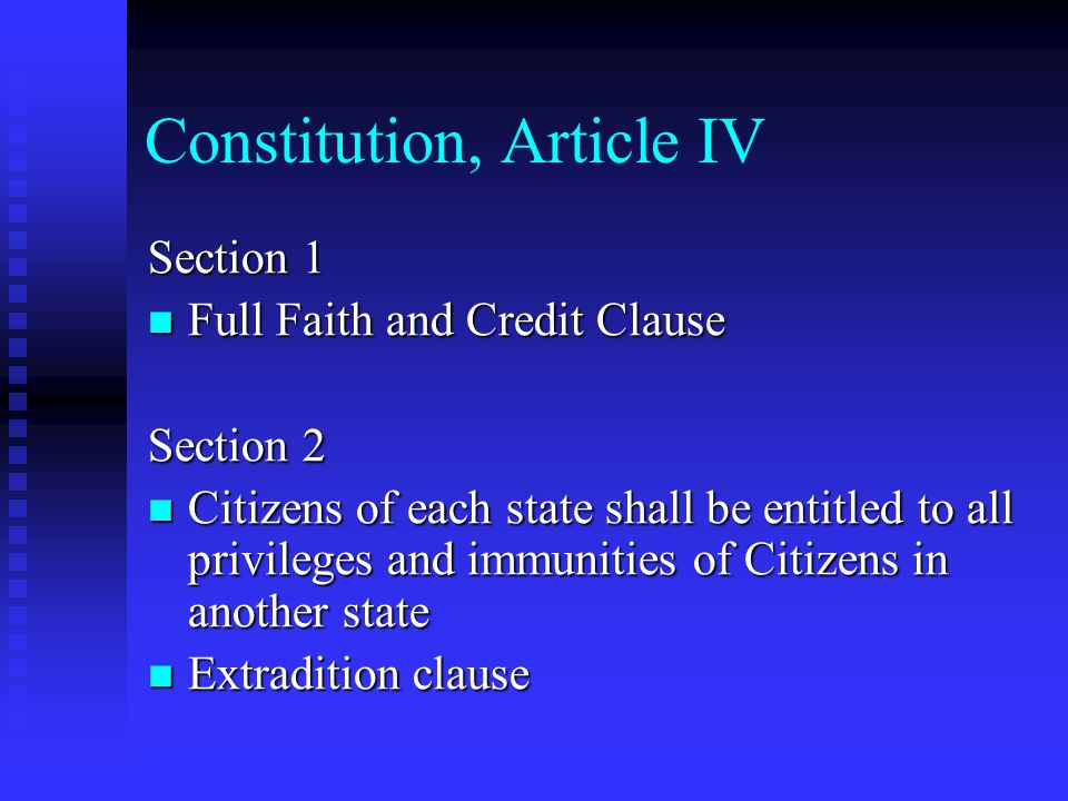 Constitution, Article IV