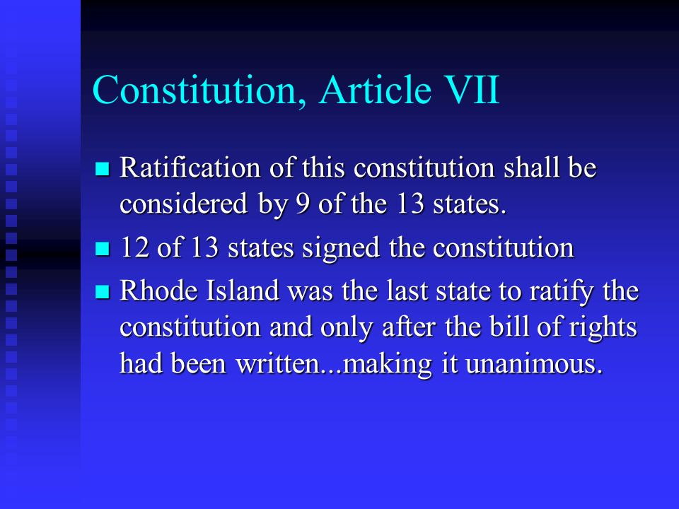 Constitution, Article VII