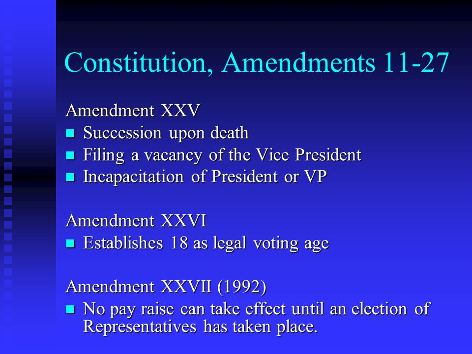 Constitution, Amendments 11-27