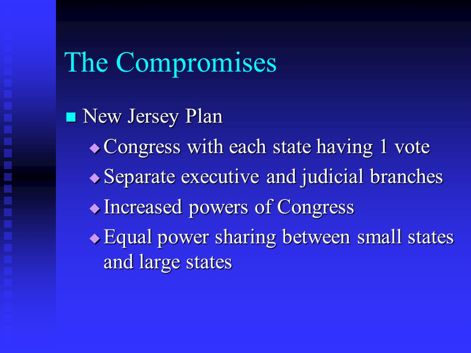 The Compromises New Jersey Plan Congress with each state having 1 vote