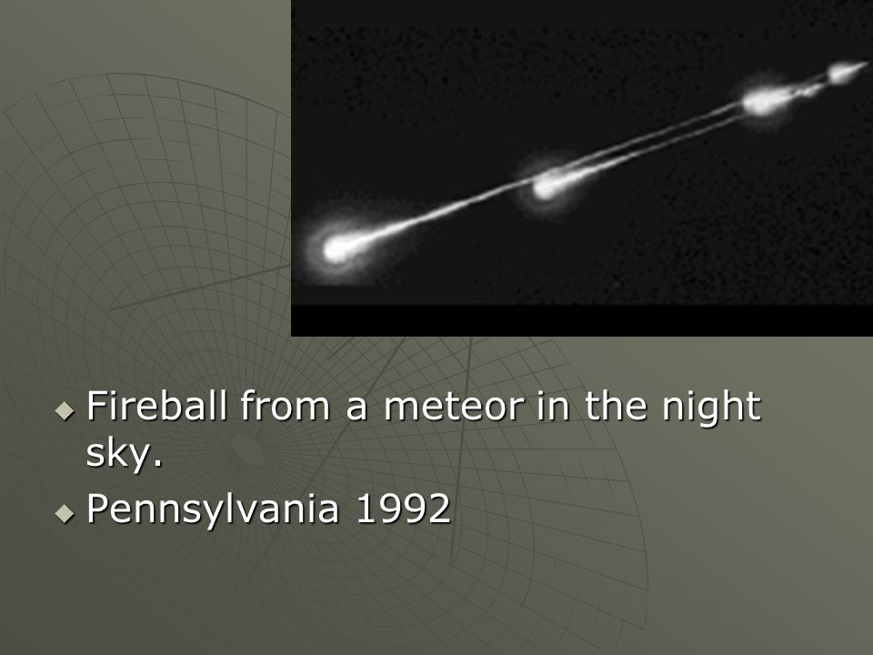 Fireball from a meteor in the night sky.