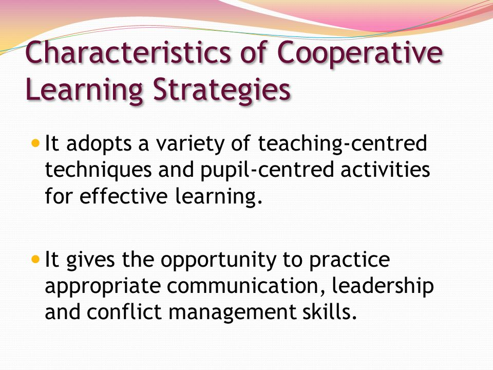 co operative strategic Effective strategies for cooperative learning richard m felder rebecca brent north carolina state university j cooperation & collaboration in college teaching, 10(2), 69–75 (2001.