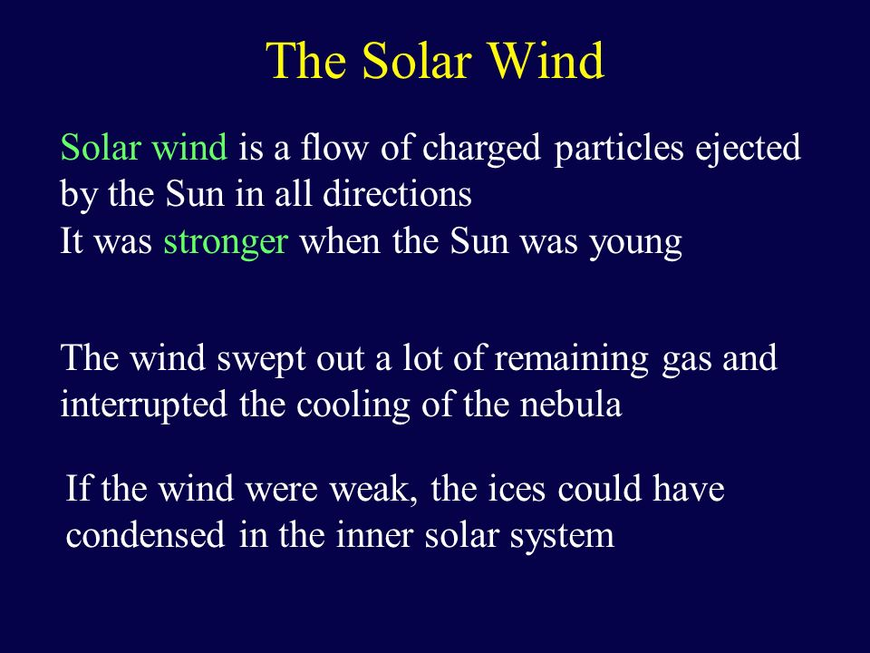 The Solar Wind Solar wind is a flow of charged particles ejected by the Sun in all directions. It was stronger when the Sun was young.