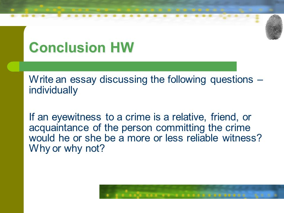 crime essay conclusion In conclusion, to decrease the number of crime violence among 18 years old individuals, parents and teachers should teach them in inspirational and friendly methods i realize that strict communication and narrow education are the influential factors for making these youth criminals.