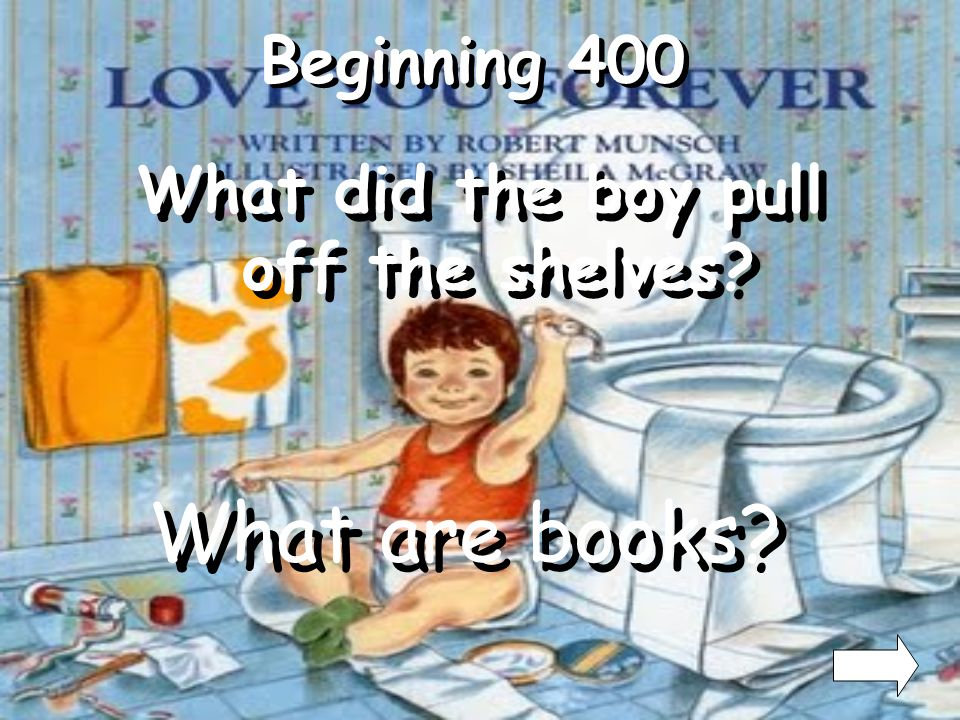 What did the boy pull off the shelves
