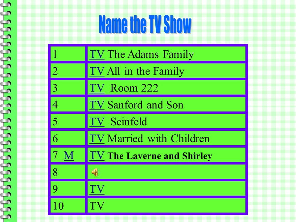 Name the TV Show 1 TV The Adams Family 2 TV All in the Family 3