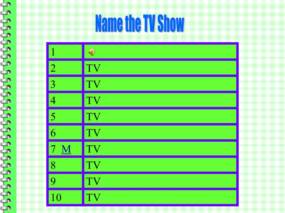 Name the TV Show 1 2 TV M