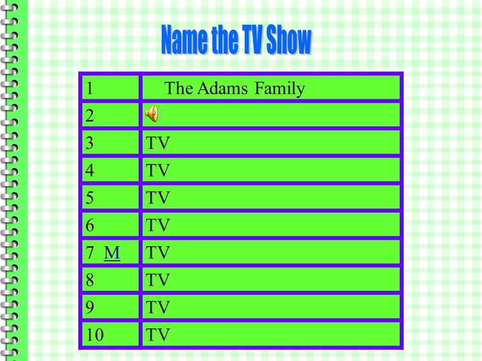 Name the TV Show 1 The Adams Family 2 3 TV 4 5 6 7 M 8 9 10