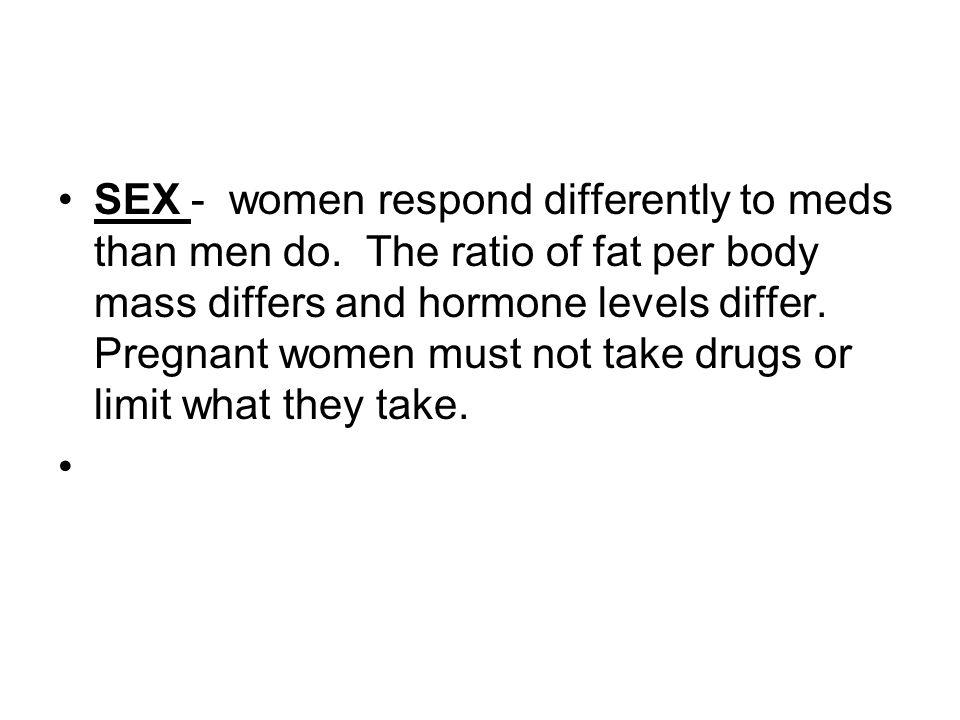 SEX - women respond differently to meds than men do