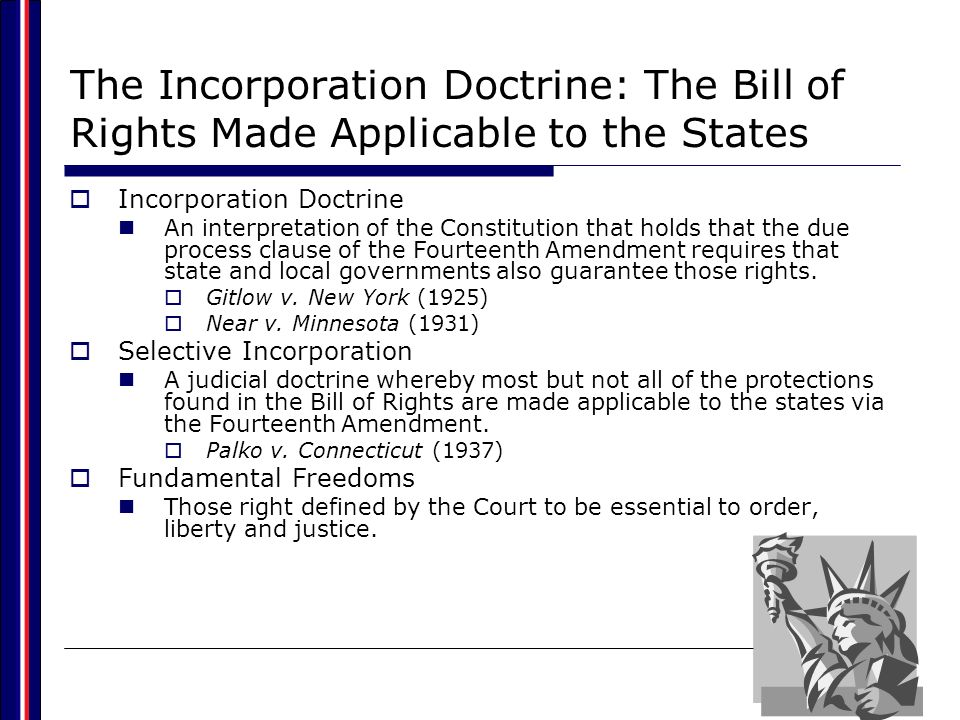 The Incorporation Doctrine: The Bill of Rights Made Applicable to the States