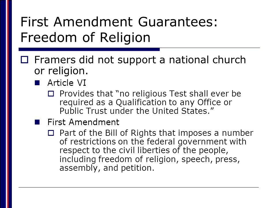 First Amendment Guarantees: Freedom of Religion