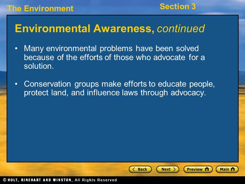 Environmental Awareness, continued