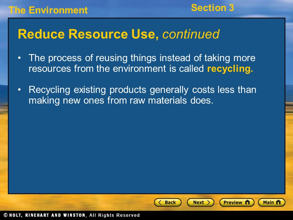 Reduce Resource Use, continued