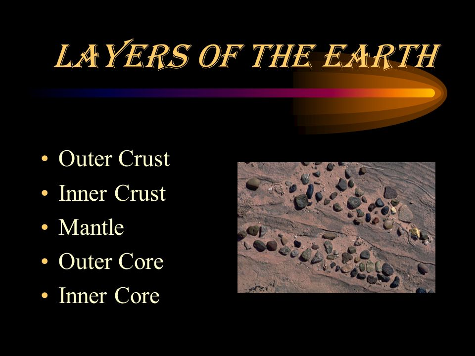 Layers of the Earth Outer Crust Inner Crust Mantle Outer Core