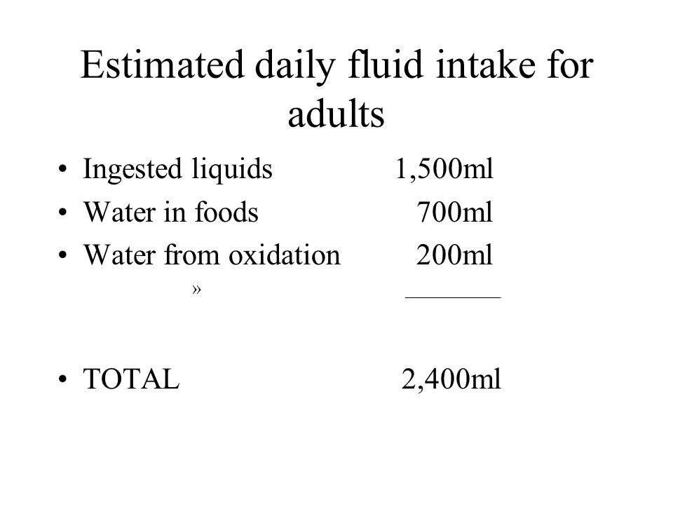 Estimated daily fluid intake for adults