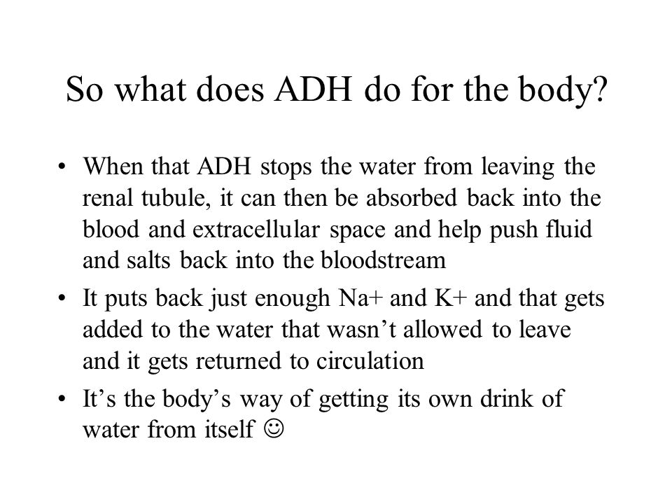So what does ADH do for the body