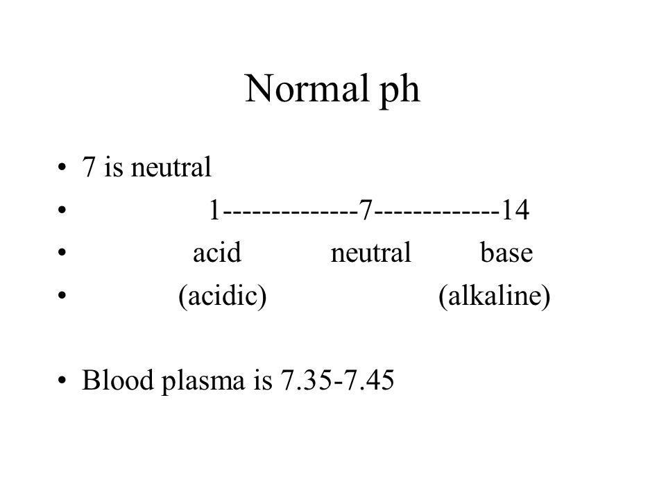 Normal ph 7 is neutral 1--------------7-------------14