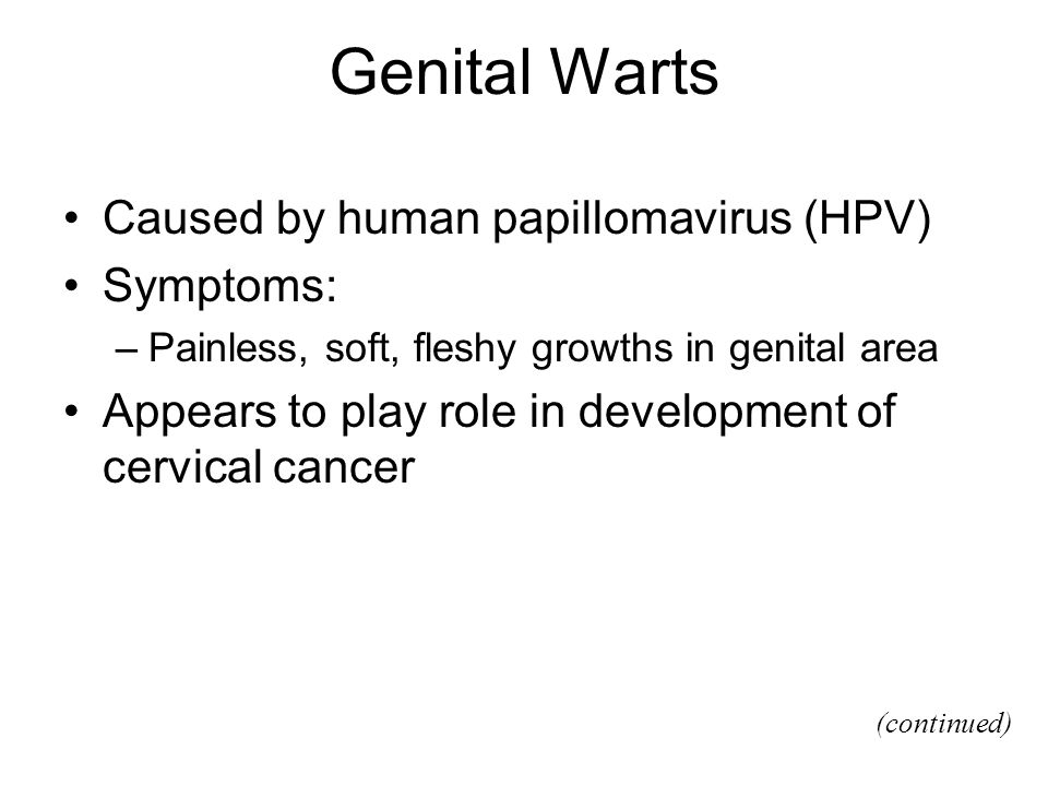 Genital Warts Caused by human papillomavirus (HPV) Symptoms: