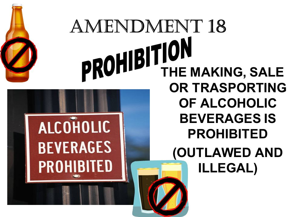AMENDMENT 18 PROHIBITION