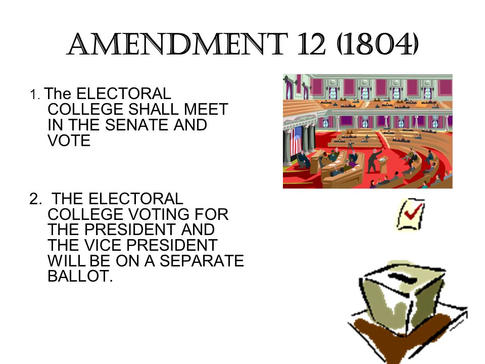 AMENDMENT 12 (1804) 1. The ELECTORAL COLLEGE SHALL MEET IN THE SENATE AND VOTE.