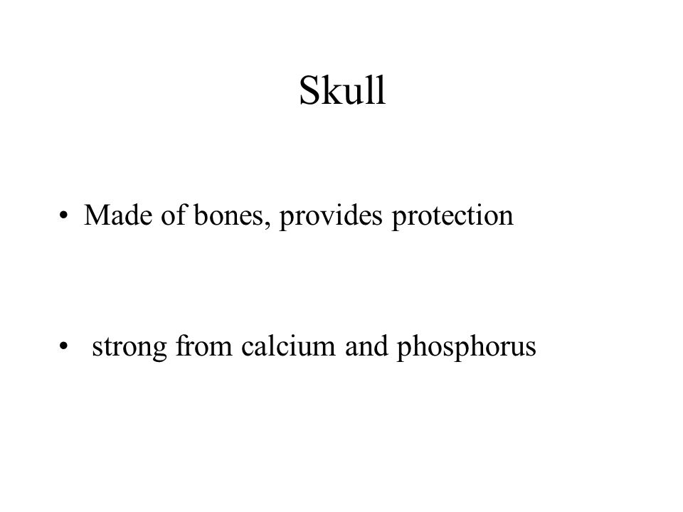 Skull Made of bones, provides protection