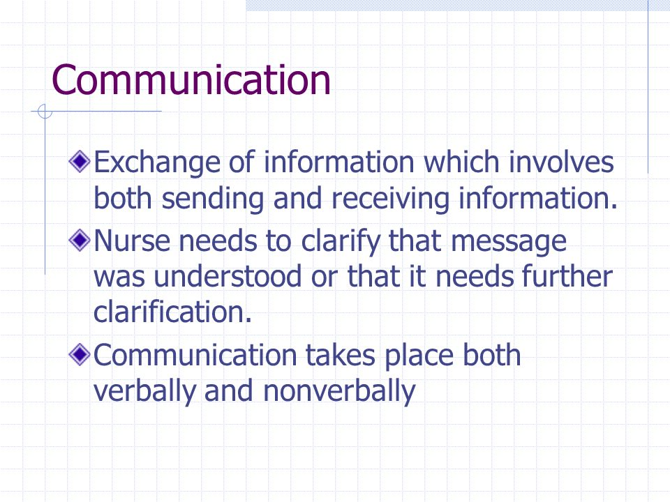 Communication Exchange of information which involves both sending and receiving information.