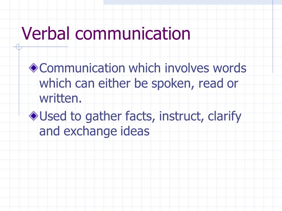 Verbal communication Communication which involves words which can either be spoken, read or written.