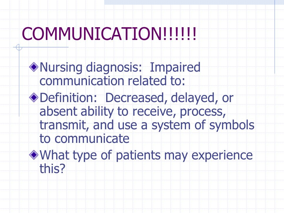COMMUNICATION!!!!!! Nursing diagnosis: Impaired communication related to: