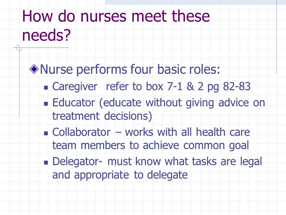 How do nurses meet these needs
