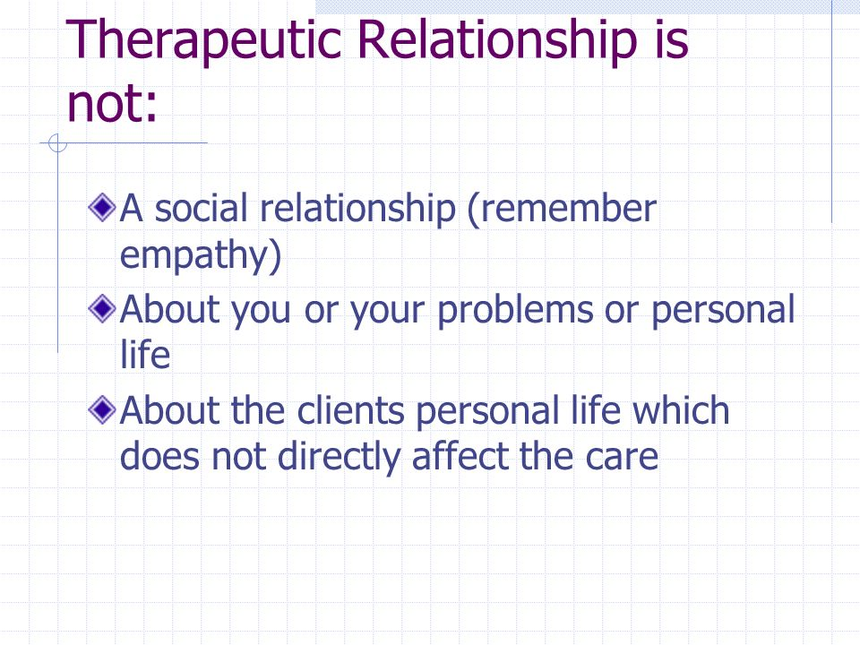 Therapeutic Relationship is not: