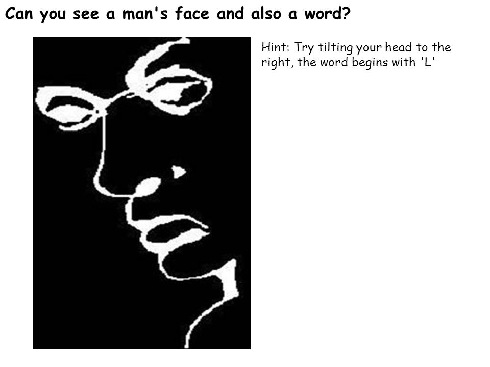 Can you see a man s face and also a word