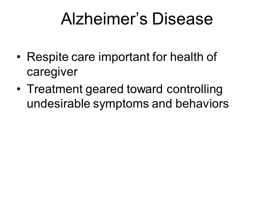 Alzheimer's Disease Respite care important for health of caregiver