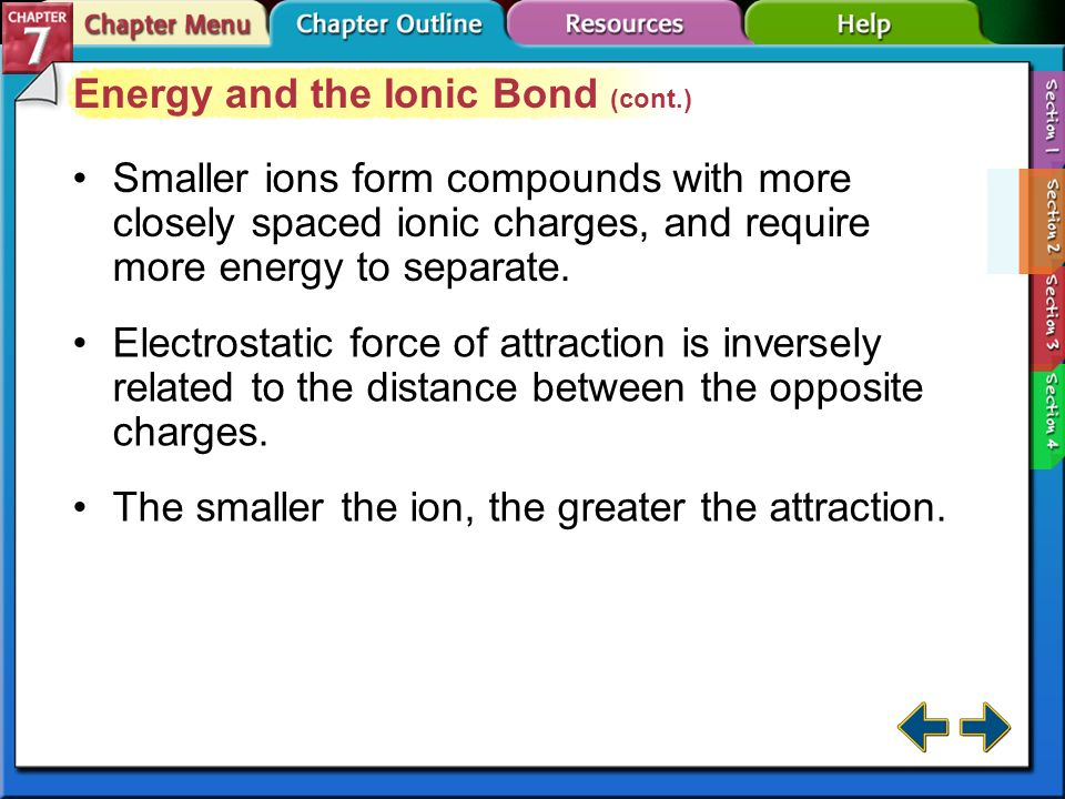 Energy and the Ionic Bond (cont.)